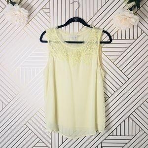 LC Lauren Conrad | Yellow Blouse w/ Lace Detail